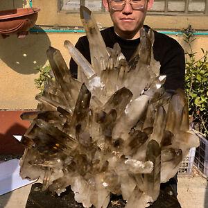 79.77LB Natural Beautiful Black Quartz Crystal Cluster Mineral Specimen Rare 402