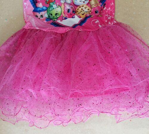 Glittery Sparkly Shopkins Tutu Birthday Girl Print Pink Party Dress sizes 6-12