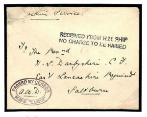 Details about N92b GB WW1 NAVAL SUBMARINE BASE *HMS Lucia* Oval Censor Cover