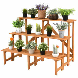 Image Is Loading 3 Tier Wide Wood Plant Stand Display Rack