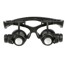 10X 15X 20X 25X LED Double Eye Jeweler Watch Repair Magnifier Glasses Loupe