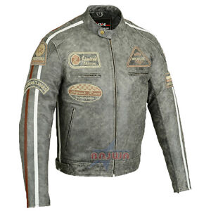 herren motorrad lederjacke biker chopper rocker jacke mit protektoren retro neu ebay. Black Bedroom Furniture Sets. Home Design Ideas