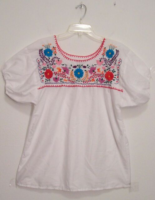 Vintage FLORAL EMBROIDERED Hippie MEXICAN Peasant Top FESTIVAL Blouse M/L