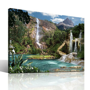 Waterfalls-Mountain-Leinwandbild-coole-Landschaft-Wasserfall-Wellnessbild-Natur