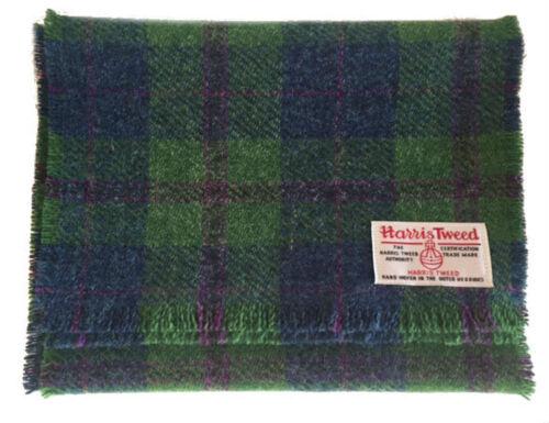 Harris Tweed Lusso Sciarpa Pura Lana Verde e Blu a Quadri Sciarpa