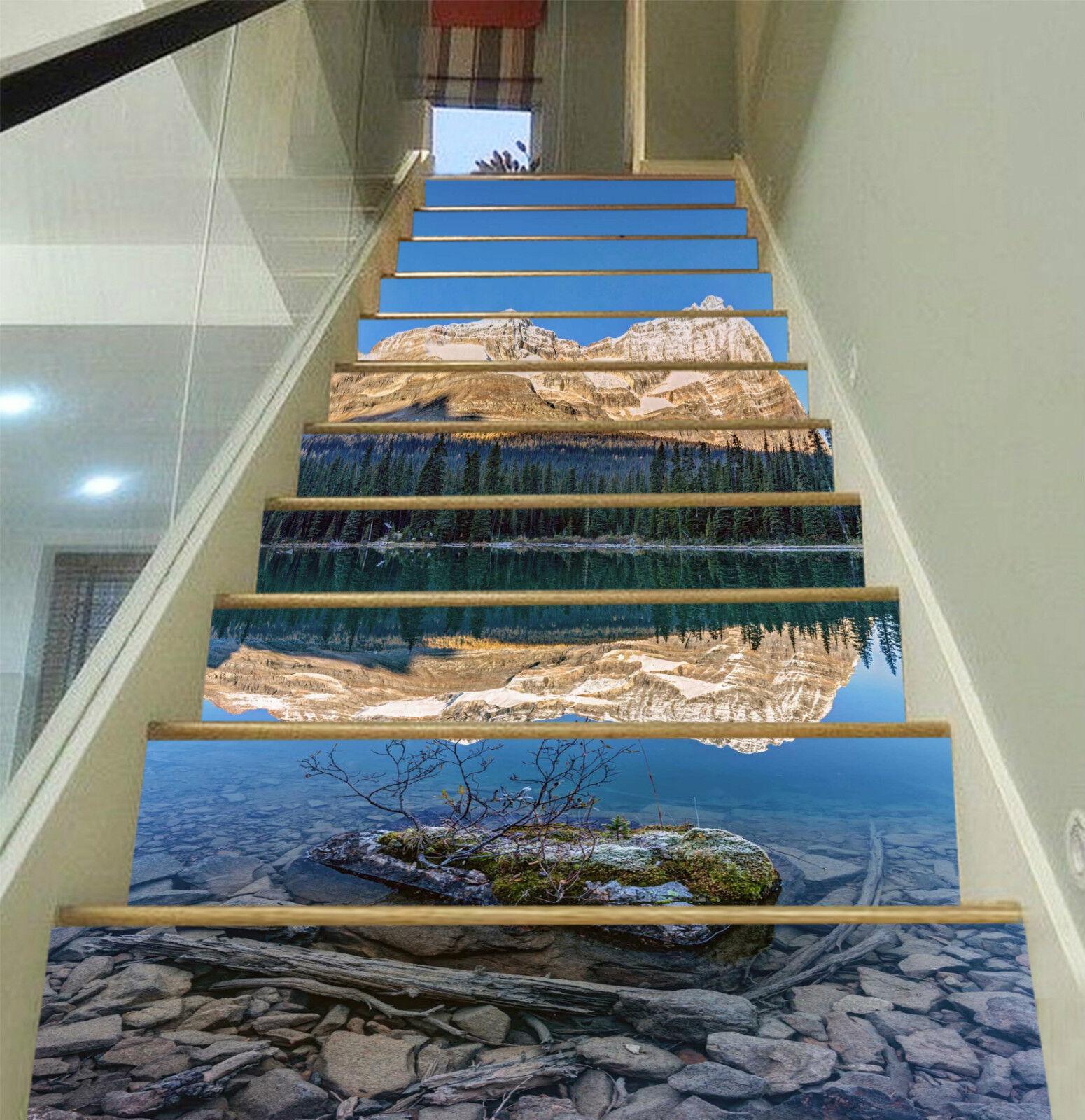 3D Berg See 549 Stair Risers Dekoration Fototapete Vinyl Aufkleber Tapete DE
