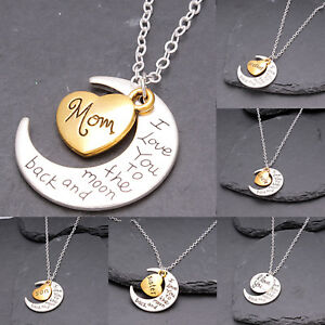 Women i love you to the moon back family heart necklace pendant image is loading women i love you to the moon amp mozeypictures Images
