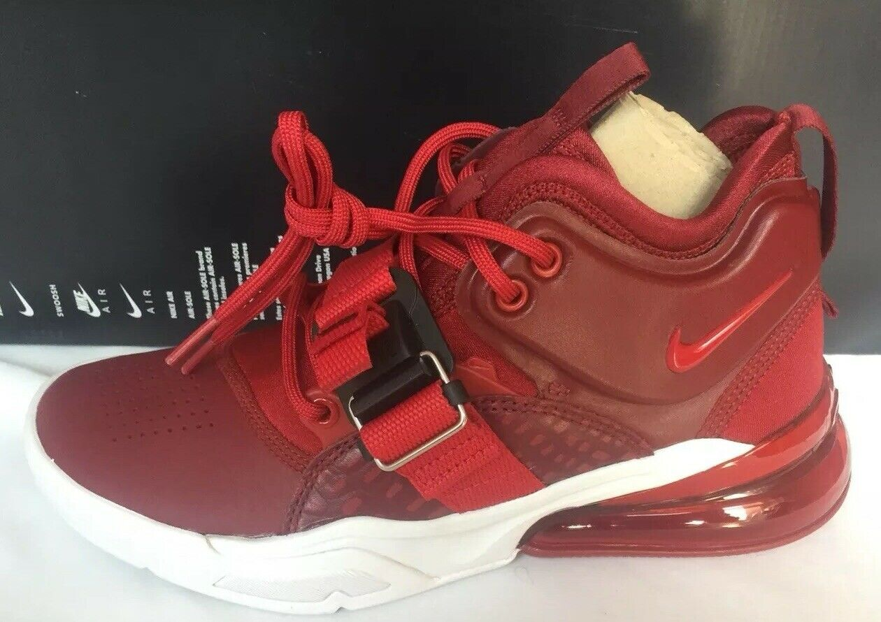 Nike Air Force 270 Basketball Mens Team rot Gym rot Weiß AH6772 600 Größe 4 UK