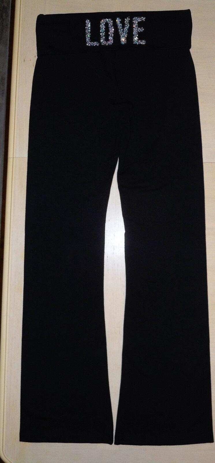 Victorias Secret Yoga Pant Fold Down Waist Bling Small Regular