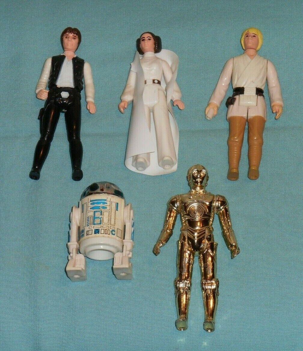 Vintage STAR WARS FIGURE LOT  209 Luke Skywalker Leia C-3PO Han Solo R2-D2