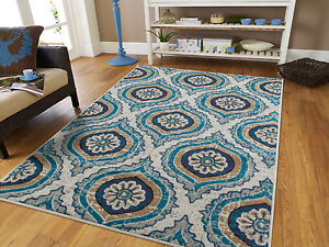 Blue Modern Large Area Rugs 8x10 Carpet Contemporary Rug