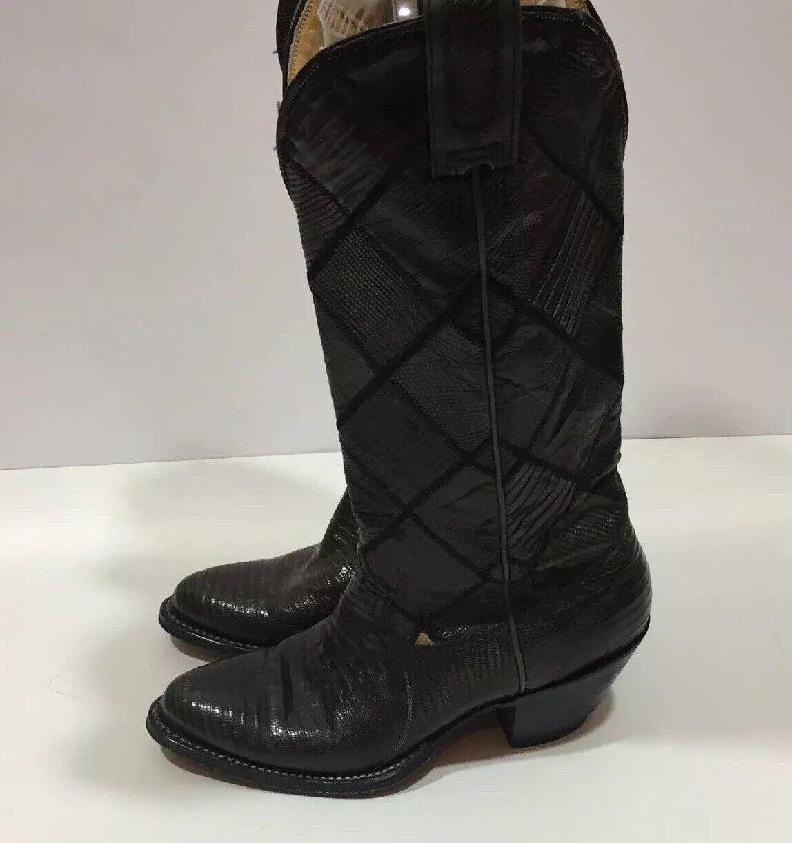 WOMENS MONTANA COWBOY BOOTS BLACK WESTERN COWGIRL RODEO Sz 6.5 USA