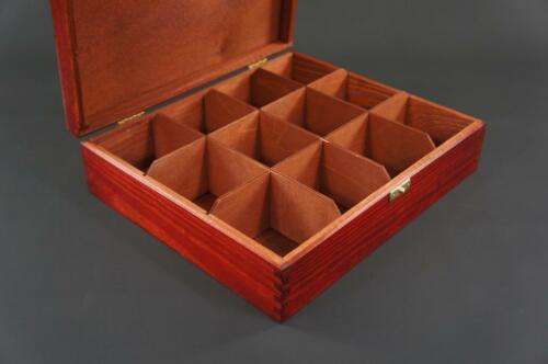 1x Mahogany Wooden Tea Box Tea Caddy Kitchen Chest 12 Compartment Storage H12mm