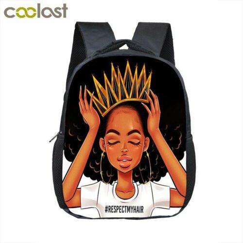 12 pollici Afro Ragazza Zaino Cartoon Carino Melanina Poppin da Schoolbag per Bambine Bambini