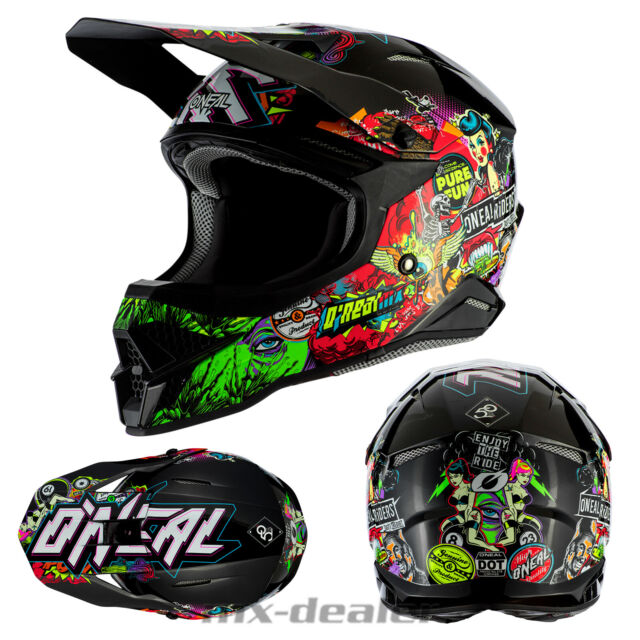 O Neal 3 Series Rancid Motocross Helmet Multi Coloured MX Enduro Off Road Quad