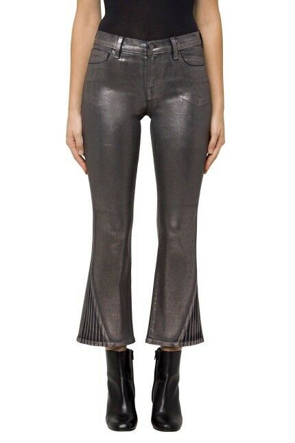 New J Brand Selena Mid-Rise Cropped Boot Cut In Foiled Chrome Size 32 MSRP