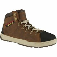 Mens Cat Safety Work Leather Trainer Boot Shoe Caterpillar Steel Toe Cap Brown