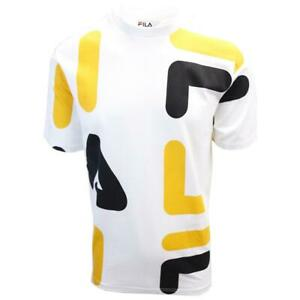 FILA-Men-039-s-White-Yellow-Black-Letters-S-S-T-Shirt-S02C