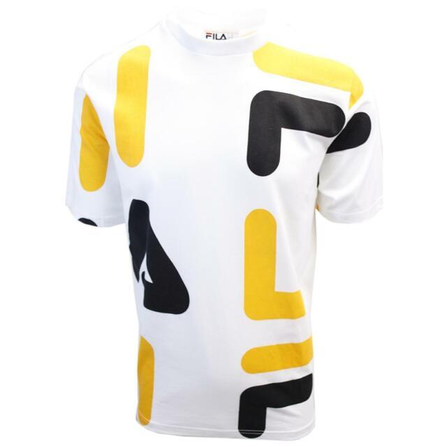 FILA Men's White Yellow Black Letters S/S T-Shirt (S02C)