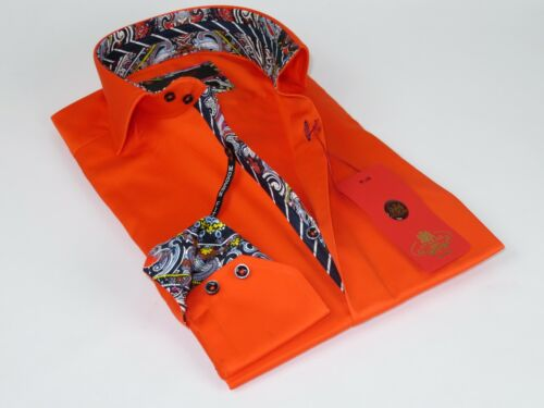 Men Axxess Egyptian Cotton wrinkle resistant Shirt High Collar 319-06 Orange New