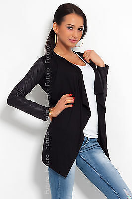 Elegant & Sensible Women's Cardigan Jacket Style Eco Leather Sleeve 8079