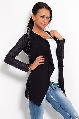 Elegant & Sensible Women's Cardigan Jacket Style Eco Leather Sleeve 8079