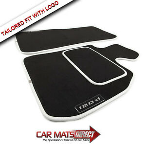BMW-1-Series-120d-04-11-Specific-Fit-Velour-Car-Floor-Mats-White-Trim-Logos
