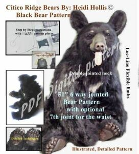 PDF-Teddy-Bear-sewing-craft-pattern-digital-dl-jointed-realistic-toy-needle-felt