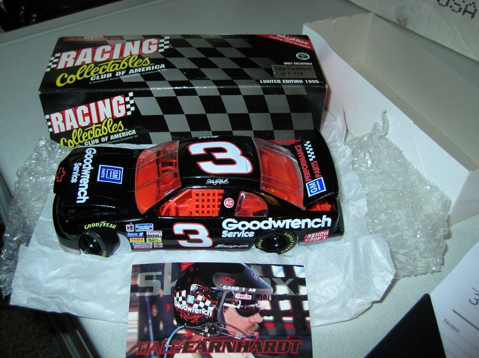 Orig 1995 Dale Earnhardt 3 noir GM parts NASCAR Diecast Racing Collectables Club of America Goodwrench Skybox