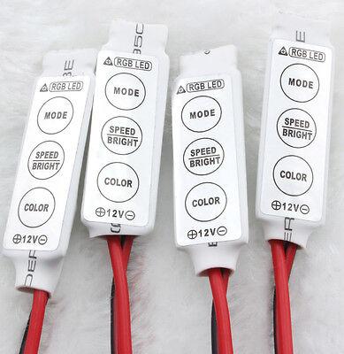 Mini 3 Key Controller Dimmer Amplifier For RGB 5050 3528 LED Light Strip