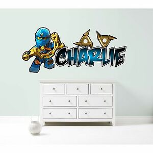 LEGO NINJAGO JAY PERSONALISED WALL STICKER children\'s bedroom decal ...