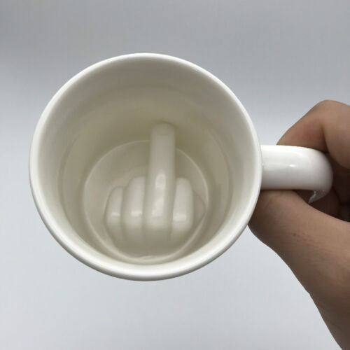 Funny Parody Middle Finger Coffee Mug Home Office Ceramic Porcelain Tea Cup Gift