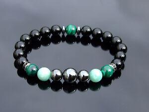 Malachite-Amazonite-Hematite-Natural-Gemstone-Bracelet-6-9-039-039-Elasticated-Healing