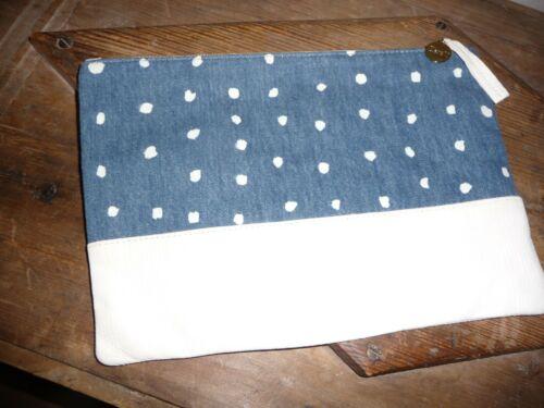 Clare V MATILDE Flat Leather & Canvas Clutch Bag D