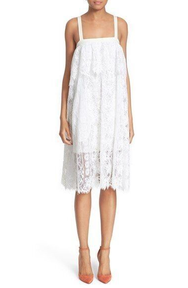 Tracy Reese Floral Lace Weiß Popover Cami Shift Dress M 8 10 NWT T474