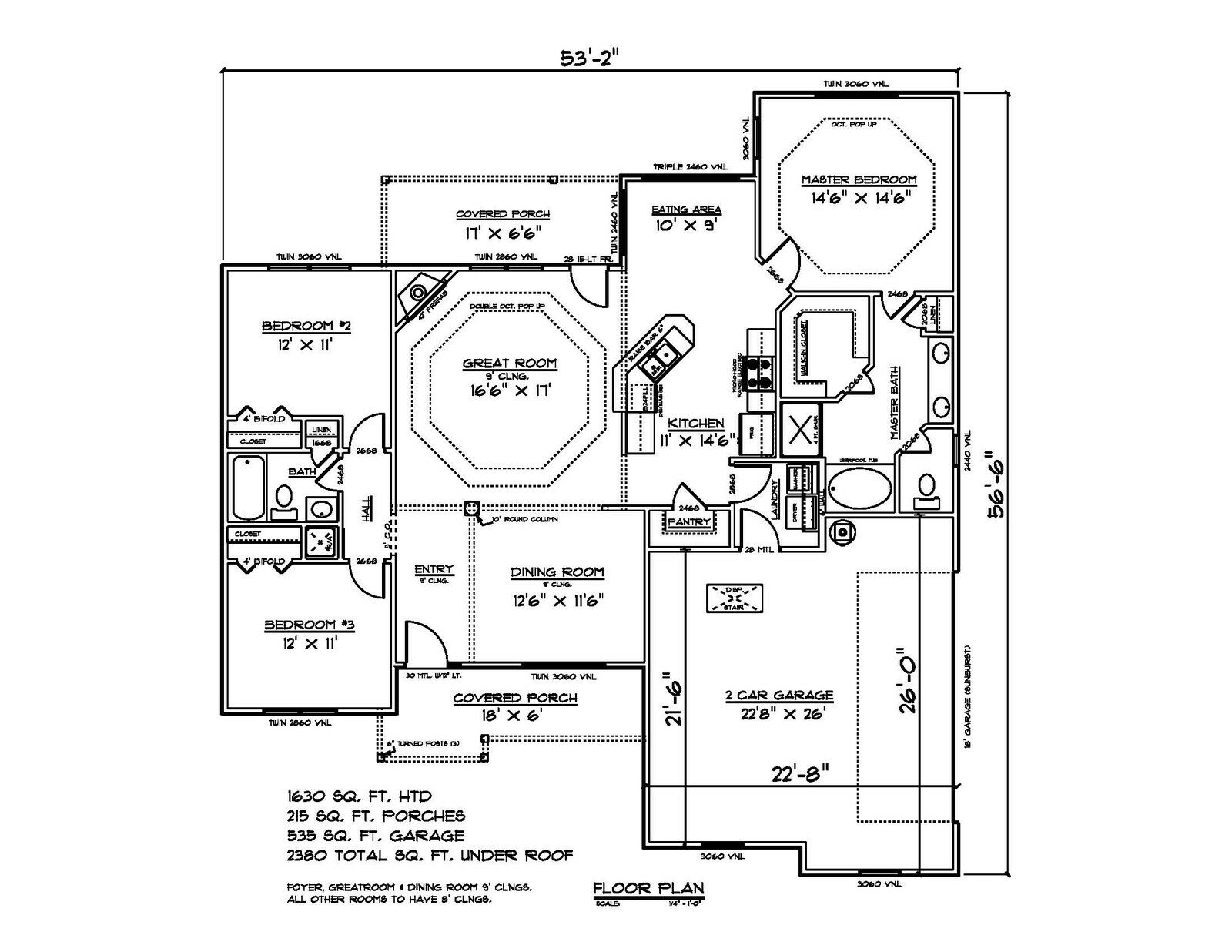 House Plans for 1630 Sq. Ft. 3 Bedroom House w Garage