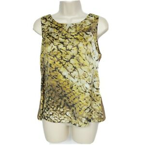 Ann-Taylor-Womens-Petites-Tank-Top-Size-MP-Brown-Gold-Abstract-Scoop-Neck