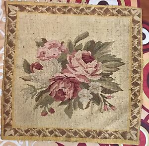 """ANTIQUE 19C AUBUSSON FRENCH HAND WOVEN TAPESTRY CUSHION 15"""" By 15"""""""