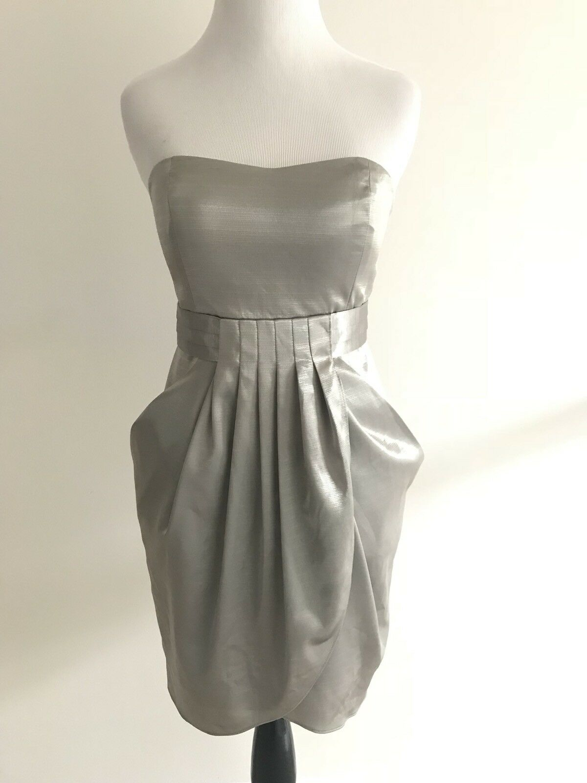 BCBGeneration A1 Womens Dress Size 2 2 2 Green Strapless Pleated Wrap Empire Waist c7e090