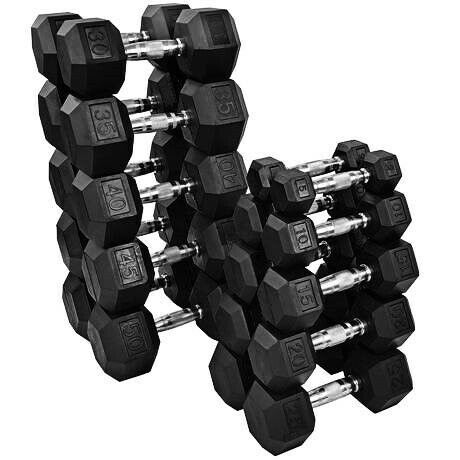 40LB 35 25 20 30 NEW FRAY FITNESS RUBBER HEX DUMBBELLS select-weight 10,15