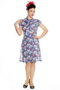 HELL-BUNNY-Kullen-Nautical-Sailor-Dress-Pinup-Retro-WW2-Vintage-Plus-Size-40s