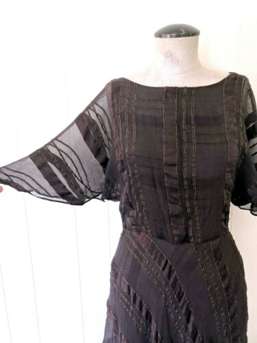 1970s Silk Farm Dress in Brown with Gold Small or