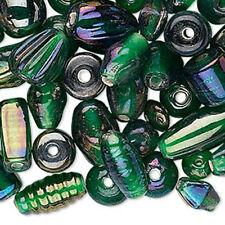 50g Bulk Handcrafted India Lampwork Glass Beads Mix Luster Dark Green