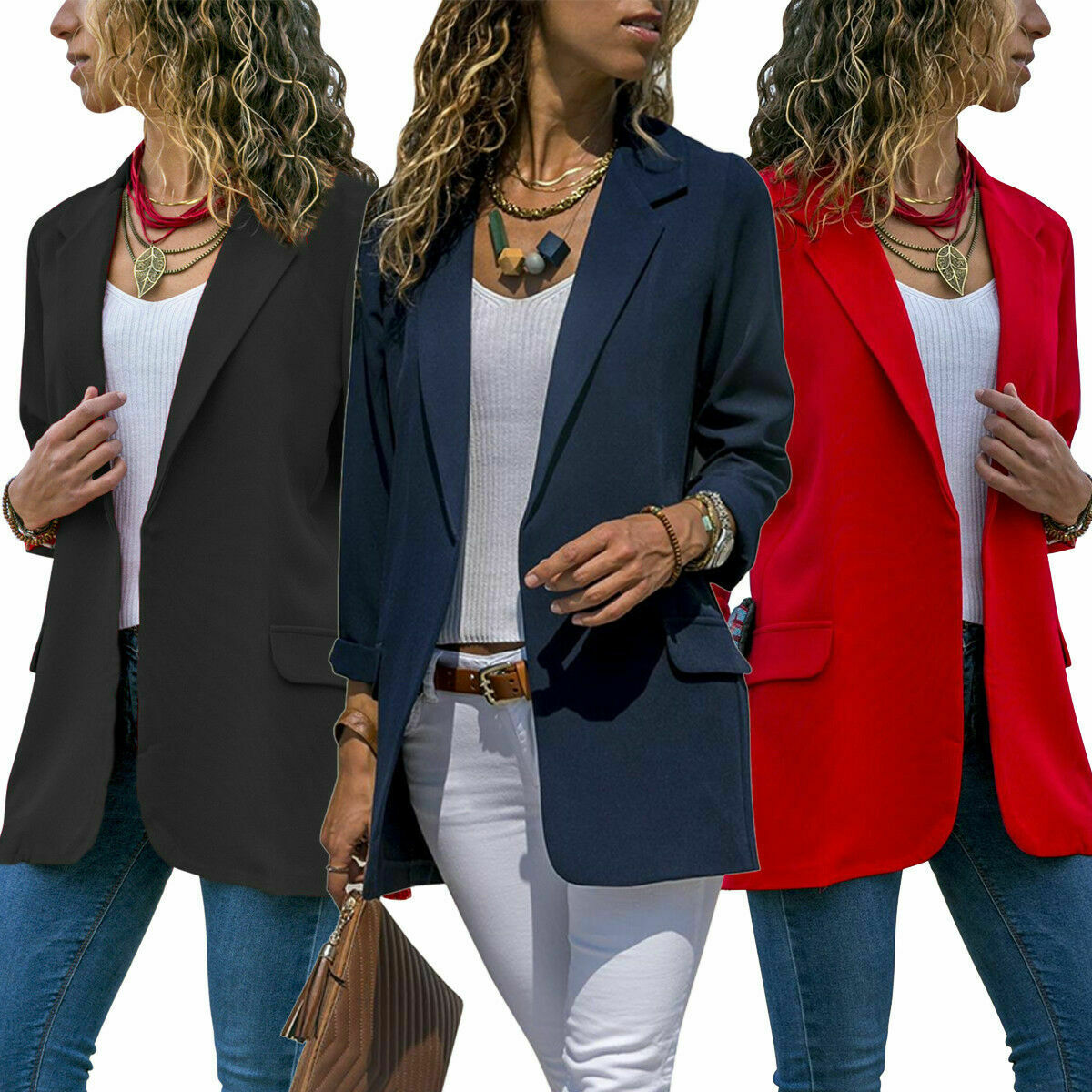 Black Womens Vintage Check Plaid Long Sleeve Casual Long Jacket Blazer US 4,L