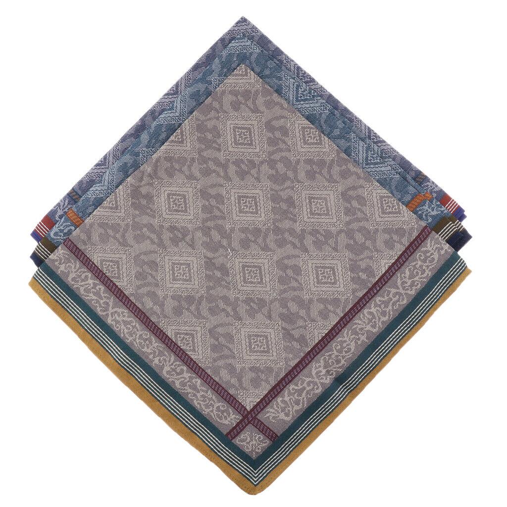 Pack of 3 Pure Cotton Jacquard Plaid Hankie Handkerchiefs Pocket Square