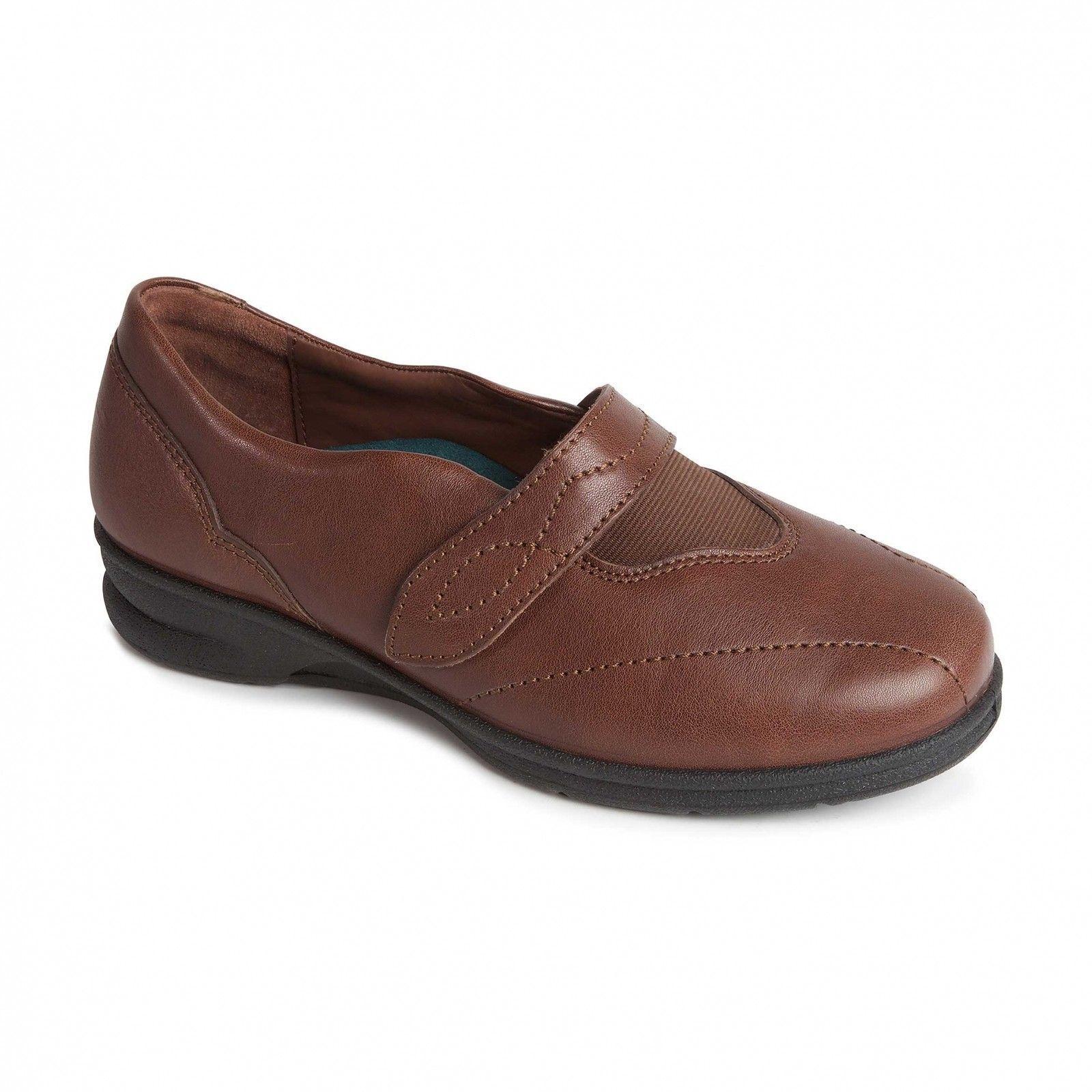 Moda barata y hermosa Descuento por tiempo limitado Padders KIRSTEN Ladies Womens Leather  Wide EEE Fitting Strap Shoes Brown