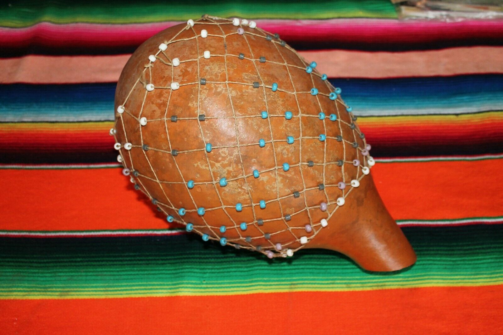 Large Natural Gourd Shekere Hand Percussion Shaker with Beads Handmade