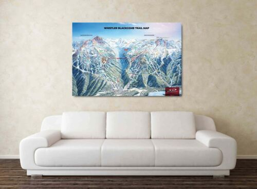 Whister Ski Map Snowboarding Framed Picture Rockies 30x20 Inch Canvas
