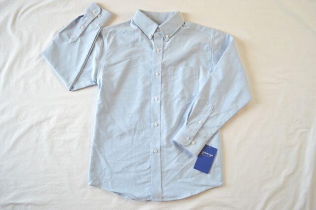 2349bbc8903b1 NWT Boys Sz 12 Arrow Button Down Dress Shirt Classic Light Blue Oxford  Cotton Bl