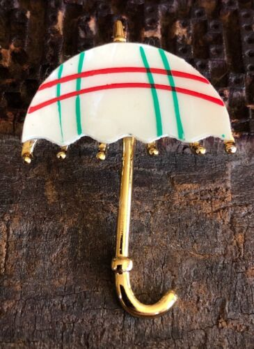 Cute Vintage 1970s Mother Of Pearl Red Green Umbr… - image 1